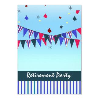 Partido de aposentadoria azul branco vermelho convite 12.7 x 17.78cm