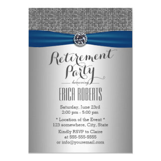 Partido de aposentadoria de prata moderno elegante convite 12.7 x 17.78cm