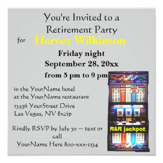 Partido de aposentadoria do tema do casino do slot convites