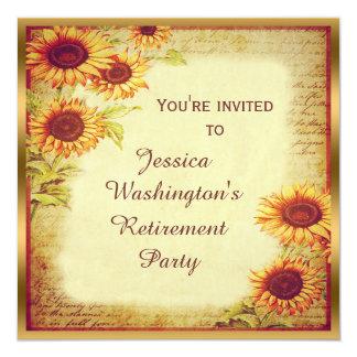 Partido de aposentadoria dos girassóis do vintage convite personalizado