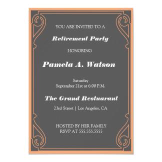 Partido de aposentadoria elegante do vintage convite 12.7 x 17.78cm