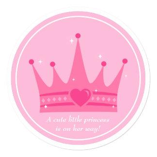 Partido de chá cor-de-rosa do bebé da princesa convite quadrado 13.35 x 13.35cm