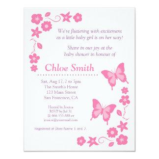 Partido de chá de fraldas cor-de-rosa elegante da convite 10.79 x 13.97cm