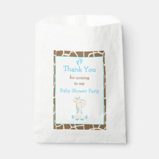 Partido de chá de fraldas do menino azul do girafa sacolinha