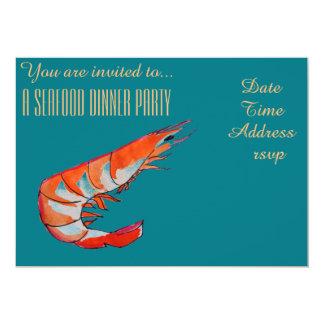 Partido de comensal do CHURRASCO do camarão do Convite 12.7 X 17.78cm