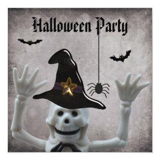 Partido de esqueleto engraçado do Dia das Bruxas Convite Quadrado 13.35 X 13.35cm