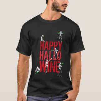 Partido de esqueleto feliz do vinho de Hallowine Camiseta