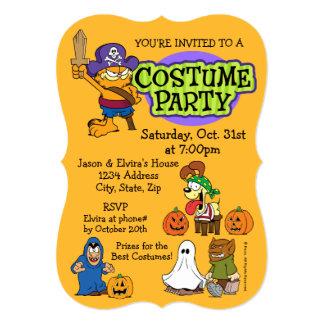 Partido de Garfield & de traje de Odie o Dia das Convite 12.7 X 17.78cm