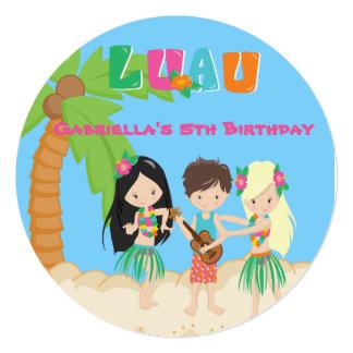 Partido de Luau com convite redondo da palmeira &