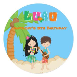 Partido de Luau com convite redondo da palmeira