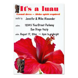 Partido de Luau do hibiscus de Tiki Convite 12.7 X 17.78cm