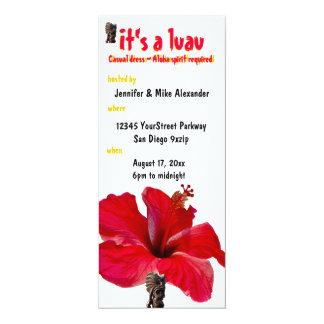 Partido de Luau do hibiscus de Tiki Convite 10.16 X 23.49cm
