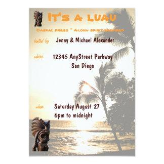 Partido de Luau do por do sol Convite 12.7 X 17.78cm