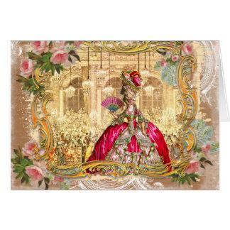 Partido de Marie Antoinette no rosa em cartões de