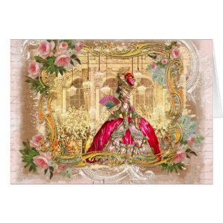 Partido de Marie Antoinette no rosa em Versalhes Cartão Comemorativo