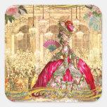 Partido de Marie Antoinette Versalhes no rosa Adesivo Em Forma Quadrada