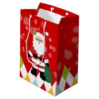 Partido de Papai Noel * escolha a cor do fundo Sacola Para Presentes Média