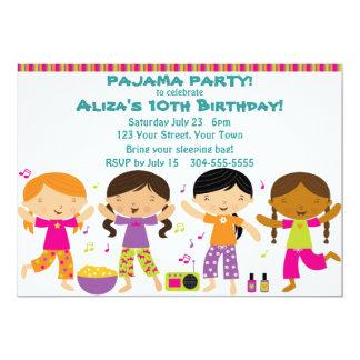 Partido de pijama das meninas convites personalizado
