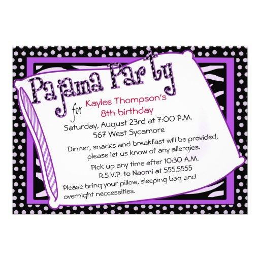 Partido de pijama em preto e no roxo convite personalizados