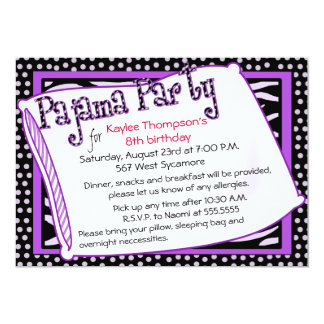 Partido de pijama em preto e no roxo convite 12.7 x 17.78cm