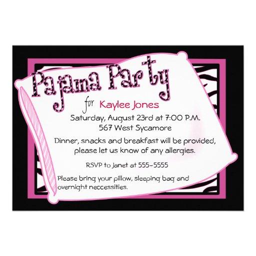 Partido de pijama no preto e no rosa convite personalizado
