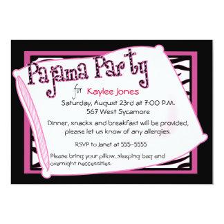 Partido de pijama no preto e no rosa convite 12.7 x 17.78cm