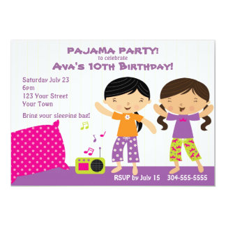 Partido de pijama para meninas convites personalizados