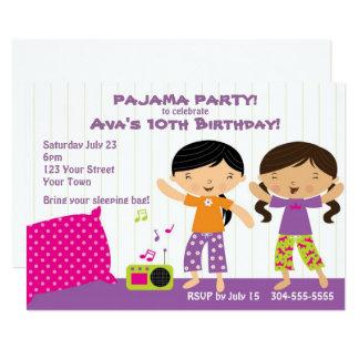Partido de pijama para meninas convite 12.7 x 17.78cm