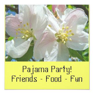 Partido de pijama! Partido do Sleepover das flores Convite Quadrado 13.35 X 13.35cm