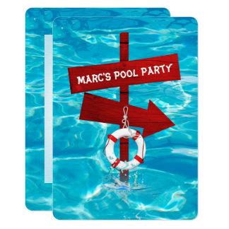 partido de piscina convite 12.7 x 17.78cm