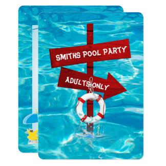 partido de piscina dos adultos somente convite 12.7 x 17.78cm