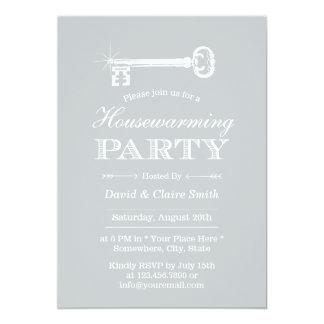 Partido de prata elegante do Housewarming da chave Convite 12.7 X 17.78cm