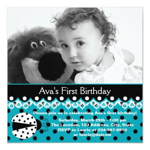 Partido de primeiro aniversario azul da foto das convites personalizados