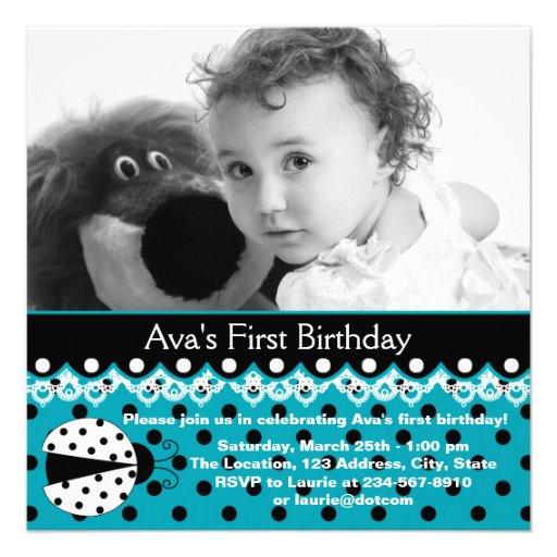 Partido de primeiro aniversario azul da foto das m convites personalizados