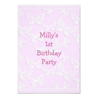 Partido de primeiro aniversario cor-de-rosa bonito convite 8.89 x 12.7cm