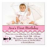Partido de primeiro aniversario cor-de-rosa da convites personalizado