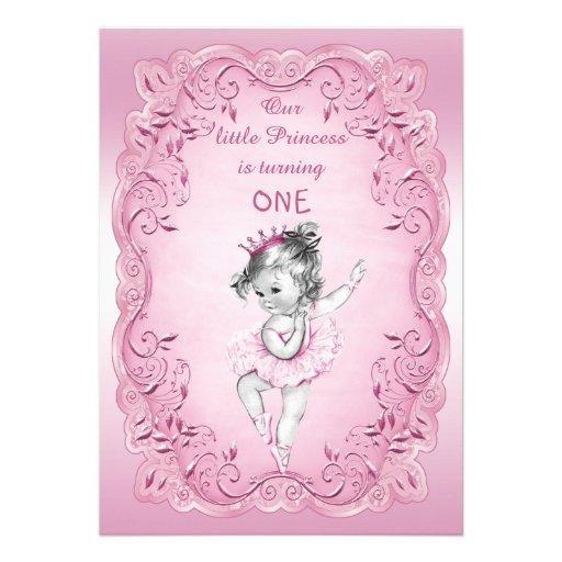 Partido de primeiro aniversario cor-de-rosa da convite personalizado