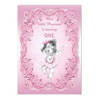 Partido de primeiro aniversario cor-de-rosa da convite 12.7 x 17.78cm