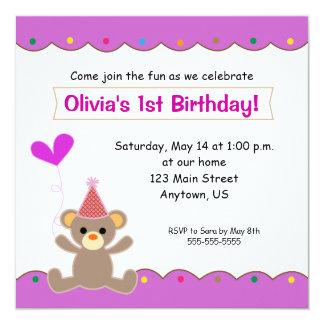 Partido de primeiro aniversario das meninas do convite quadrado 13.35 x 13.35cm