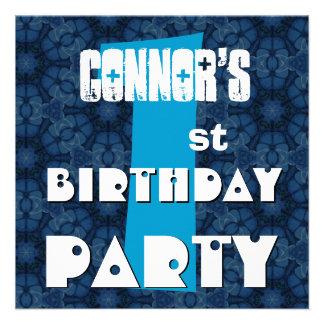 Partido de primeiro aniversario estrelas azuis gra convites