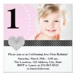 Partido de primeiro aniversario preto cor-de-rosa convites personalizados