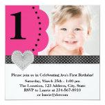 Partido de primeiro aniversario preto cor-de-rosa convite personalizados