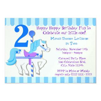 Partido de segundo aniversário azul do pônei do convite 12.7 x 17.78cm