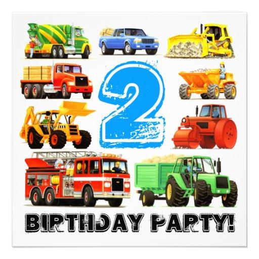 Partido de segundo aniversário grande dos caminhõe convites personalizados