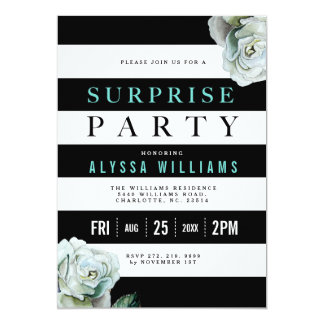 Partido de surpresa preto dos rosas do branco e da convite 12.7 x 17.78cm