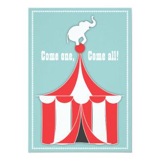 Partido de tenda do circus & de aniversário de convites personalizados