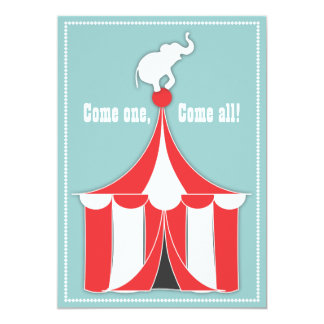 Partido de tenda do circus & de aniversário de convite 12.7 x 17.78cm