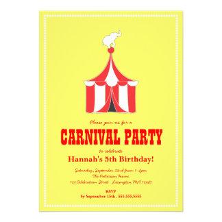 Partido de tenda do circus & de aniversário de cri convites personalizados
