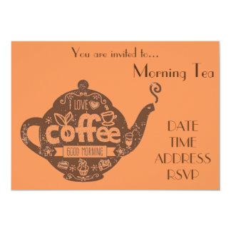 Partido do café da data do café do chá da manhã convite 12.7 x 17.78cm