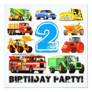 Partido do caminhão da construção do segundo convite quadrado 13.35 x 13.35cm